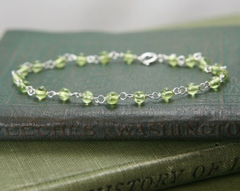 Peridot Gemstone Bracelet - Sterling Silver Wire Wrapped Lime Green Simple Delicate - Joy, Peace, Protection, Healing, August Birthstone