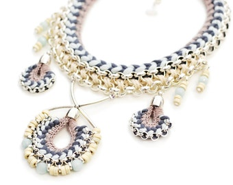 Statement Necklace, Hippie Wedding, Bohemian Necklace, Tribal Necklace, Crochet Necklace, Fabric Necklace, Bohemian Jewelry