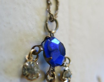 Art Deco 14K gold plated necklace with rhinestones