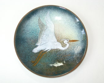 Margaret M Ratcliff Enamel on Copper Dish Plate WHITE HERON w/ Gold Trim -Stone Mountain GA