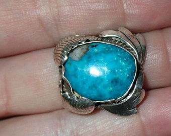 Kingman Turquoise leaf Ring in sterling silver  sz 8.5