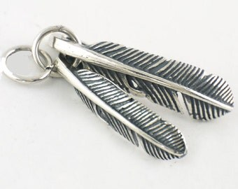 Two Small Sterling Feather charm / pendant