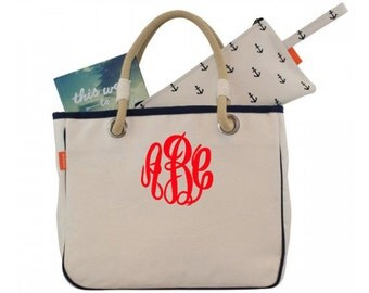 Canvas Rope Tote - Monogrammed Canvas Rope Tote Bag - Monogrammed Bridesmaid Gift Tote, Personalized Canvas Tote Bag, Rope Tote, Carry All