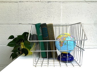 Industrial METAL WIRE BASKET | Large Vintage (c.1960's) Wire Basket/Drawer | Office File Basket | Produce Storage Drawer | Bathroom Storage
