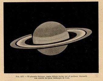 1912 Map Of Saturn, Original Vintage Space Astronomy Print