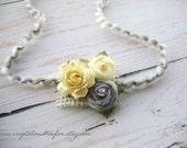 Yellow and Gray Newborn Flower Tie Back, Baby Girl Flower, Gray Headband, Photo Prop, Headband, Baby Headband