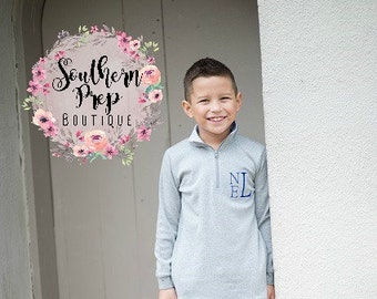Boy's Pullover - Monogrammed Pullover - Gray with monogram - Gray with Blue Gingham - Monogrammed boy's pullover