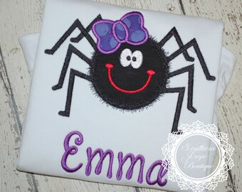 Girl's Spider Halloween Applique Shirt - Spider Applique Designs - Halloween Applique Shirt - Custom Monogrammed Holiday Shirt