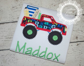Back to School Monster Truck - Boys Applique - Back to School - Boy's School Shirt - Custom Colors available