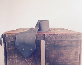 Lanvin / Silk Tie / 1970s / Designer / Work Clothes / Wedding Ties / Hipster / Circle Print