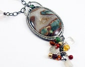 Silver  Prudent Man Druzy and Tourmaline Necklace