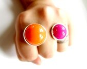 Chunky Double Two Finger Ring Eco Friendly Sterling Silver Vintage Acrylic Statement Ring Hot Flamingo Pink Tangerine Pumpkin Orange