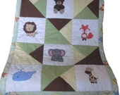 Appliqued Baby Animal Baby Quilt