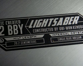 Custom OBI-WAN Kenobi LIGHTSABER Specifications Data Plate Star Wars Jedi