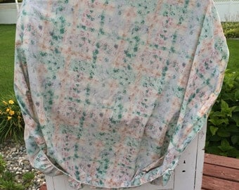Vintage, sheet, full or double, fitted, green, red, orange, bedding, linens, fabric, fitted sheet, vintage sheet, cannon