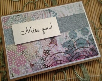 Miss you card, Just Because Card, Miss You, Friendship Card, Friendship, Love, BFF, Just Because, Handmade Card