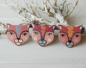 Pink cat brooch,cat pin, animal brooch