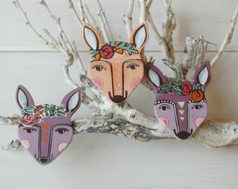 Deer brooch, deer pin, woodland jewelry