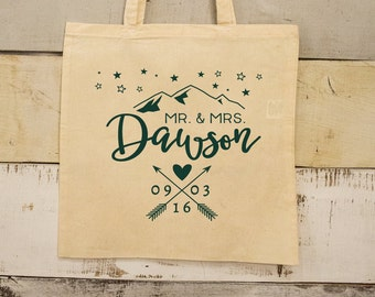 Mountain Wedding Totes, Wedding Favor Totes, Rustic Party Favor Bag, Crossed Arrows Favors, Tote Bags, Canvas Bags, Welcome Bags, 1627
