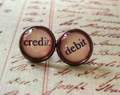 20% OFF --Vintage style Credit and debit stud earrings,accounting,cute gift,Glass earring stud