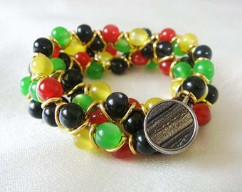 Beaded Wrap Bracelet **Black*Red*Yellow*Green