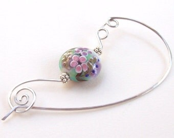 Flower Shawl Pin, Silver Shawl Pin, silver scarf pin, lampwork, floral, sweater pin, garden, aluminum, wire, spring, hammered