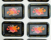 SALE 30% Off, Vintage Collection of 8 Mini Tole Trays