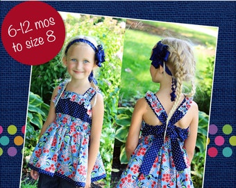 Sabrina's Ruffled Top and Dress PDF Pattern sizes 0-6 months to 8 girls