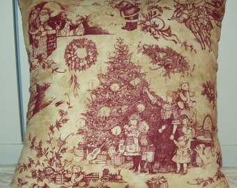 Sweet Old Fashioned Christmas Pillow Trees Children Santas Sled