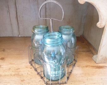 Vintage Metal Bottle Carrier Wine Holder Wire Ware Wireware Farmhouse Decor Canning Jar Carrier Beer Stein Carrier