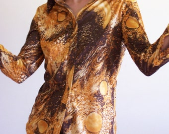Vintage 70s Abstract Sun Pattern Shirt in Orange and Brown bust 36 size M