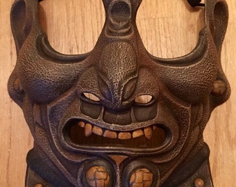 Samurai Menpo Mask - Brown Leather Style