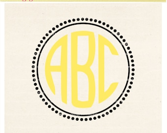 SVG circle monogram frames,small dots frames design clip art, Frames Cut File Design, Frame V-11 DXF, EPS, cameo, silhouette studio