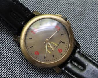 Vintage Mcdonalds Quartz watch with black leather strap