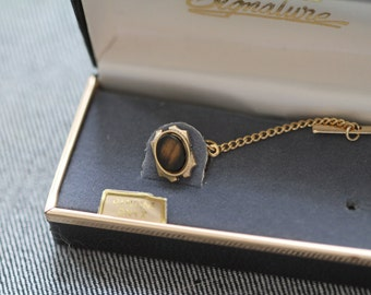 Vintage Tie Tack with original box and gold tone chain