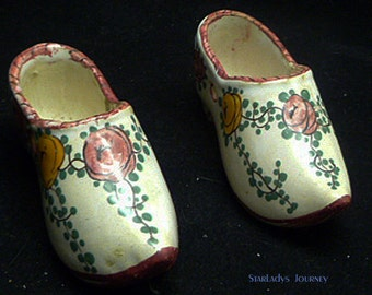 Delightful Pair of Vintage French Faience Shoes