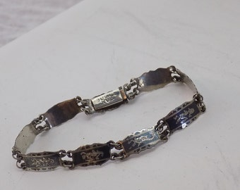 Vintage Siam Sterling Niello Link Bracelet - 1