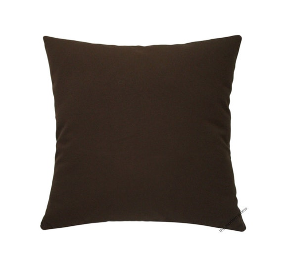 Organic Chocolate Brown Solid Decorative Throw Pillow Cover