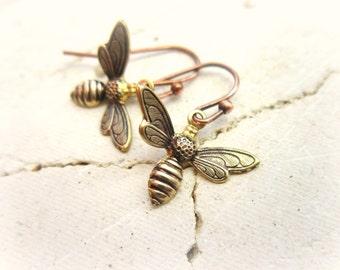 Brass Honey Bee Earrings. Honey Bee Dangle Earrings. Gift for a Beekeeper. Honey Bee Jewelry.Gift for a Bee Lover. Beekeeper Jewelry