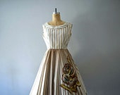 1950s hand painted Mexican dress . vintage 50s dress