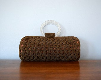 1940s crochet purse . vintage 40s brown corde handbag