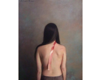 Degas style painting of woman. Woman with peach ribbon. Pastel painting. Fine art pastel. Original pastel painting of woman. One-of-a-kind.