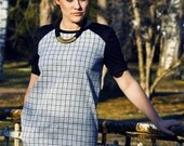 Checked Dress / Casual Shift Dress / Black and White Plaid Handmade Dress / fit for S/M sized Women
