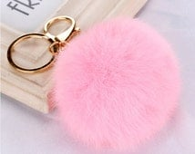 Fluffy keyring, Fluffy key ring, key chain, Fluff Ball keyring, pink fluffy, fluffy key ring, pink fluffy key chain, soft pink, faux fur
