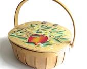 Vintage Hand Painted Basket - Sewing Basket - Yarn Basket - Ladybug - Lidded Wooden Basket