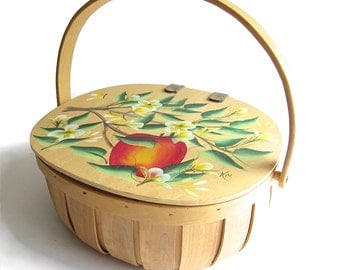 Vintage Hand Painted Basket - Sewing Basket - Yarn Basket - Ladybug - Lidded Wooden Basket