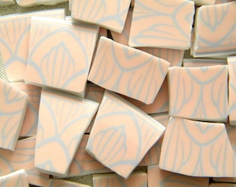 SALE - MOSAIC China Tiles - Peach and Blue - Recycled China Plates - 95 Tiles