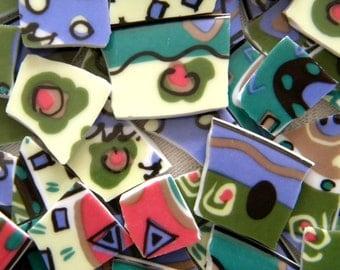 Colorful Abstract Mosaic China Tiles - Designer Plates
