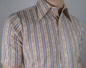 Nos Vintage 1970's Men's Career Club Men's Striped Floral Bohemian Hippie Dress Shirt M 44
