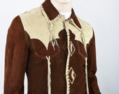 Vintage 1970's EL Toro Bravo Men's 2 Tone Suede Leather HiPPiE RoCK STaR Western Tasseled Jacket Size S 41